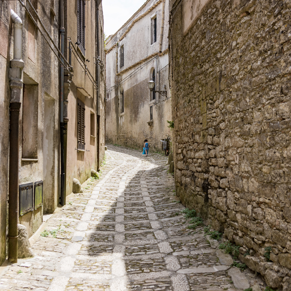 Trudging up a hill in Erice